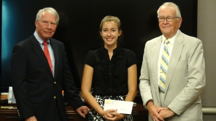 Friends of NIDA's Charles O'Keefe (L) and Bill Dewey (R,) give award to Alaina Nicole Sonksen (3rd Place Winner).