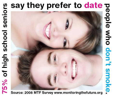 Image with a couple and words saying that 75% of high school seniors prefer to date someone who doesn't smoke