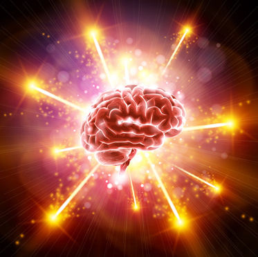 Illustration of a brain with lights flying out in all directions