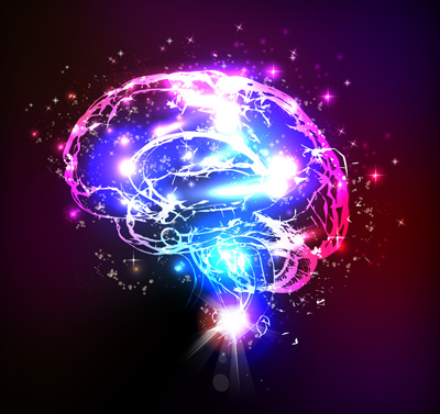 Illustration of brain a lit up in different colors