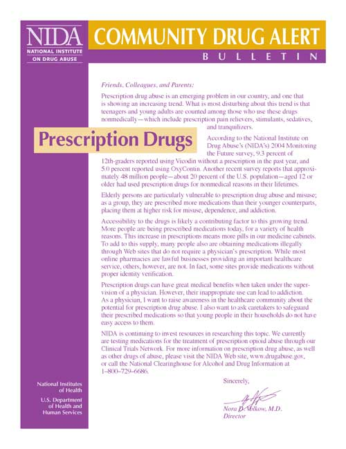 NIDA Community Drug Alert Bulletin - Prescription Drugs cover
