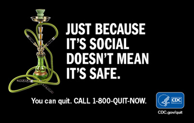 CDC promo saying Hookahs are not safe
