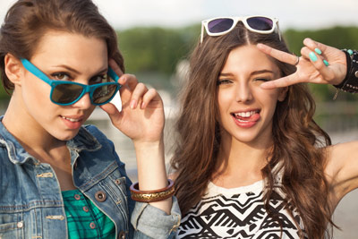 """Two girls looking """"cool"""""""