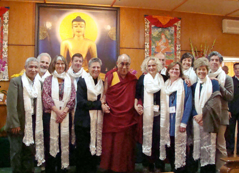 Dr. Nora Volkow and other scientists and scholars with the Dalai Lama in Dharamsala, India