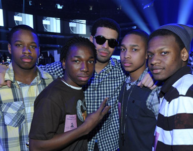 Photo of Drake and some fans