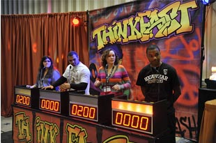 Teens answer questions during NIDA's ThinkFast event