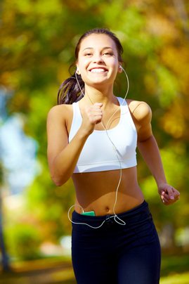 A young woman running for fun