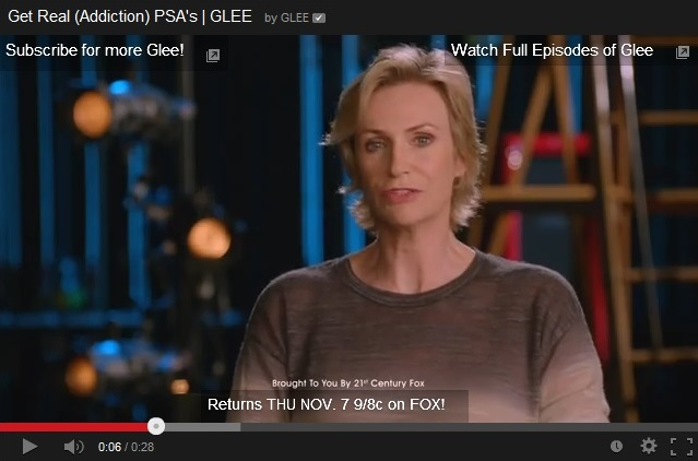 Screen from Glee PSA