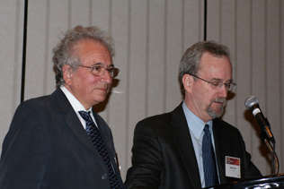 Ian Stolerman, recipient of the 2009 Award of Excellence - International Leadership, with Steve Gust