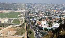 Photo of the border between San Diego, California, and Tijuana, Mexico.
