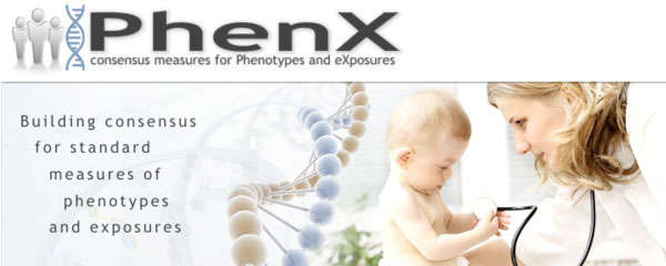 Accompanying the PhenX logo is a simplified illustration of a strand of DNA and a photograph of a baby holding the stethoscope of a young female doctor.