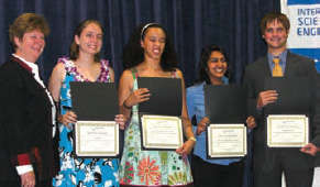 Photos of science award winners - see caption for names