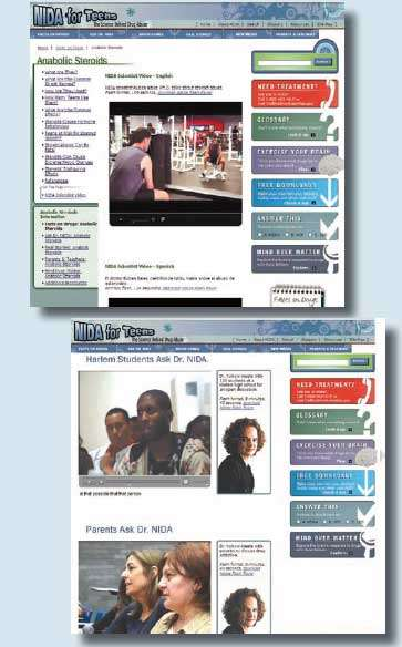 Screen shots from NIDA for Teens web site