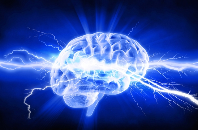 Illustration of a brain with lightning coming out of it.