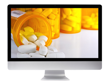 Picture of pills pouring out on a TV screen