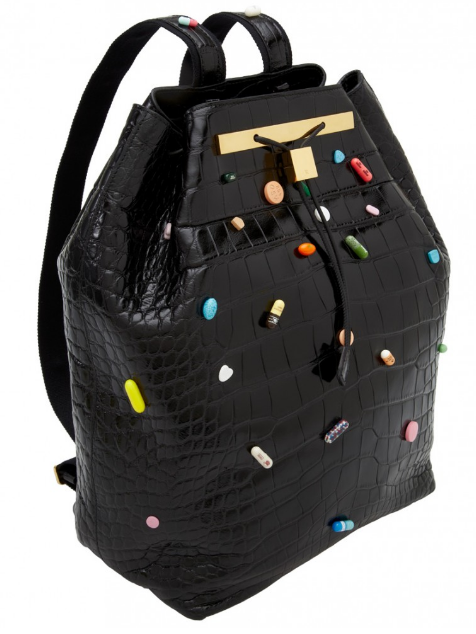 Designer backpack with pills as decorations