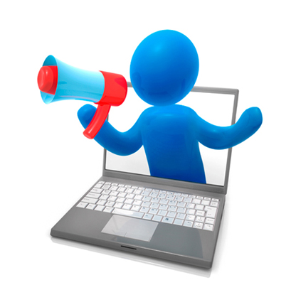 Illustration of a person with a megaphone coming out of the computer screen