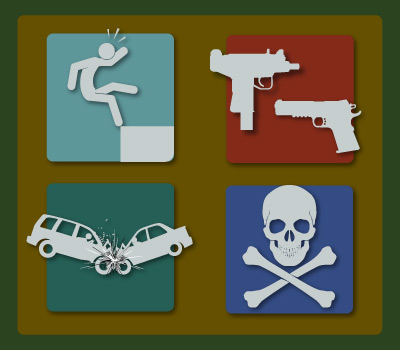 Image showing causes of deaths, falling, shooting, car accidents and poisoning