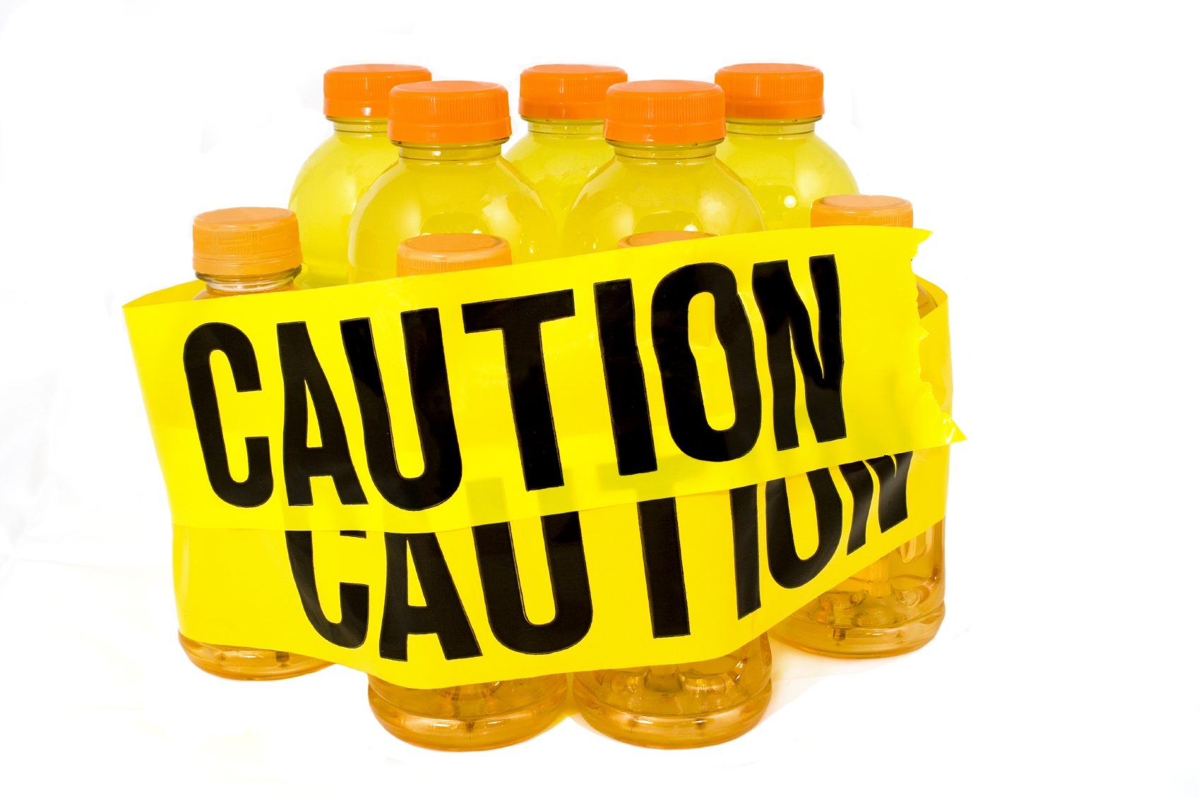 A bunch of drinks being wrapped with a Caution label