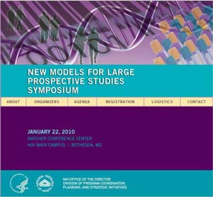 website graphic for NIH meeting - New Models for Large Prospective Studies Symposium