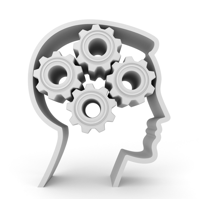 Illustration of a head with interlocking gears making up the brain