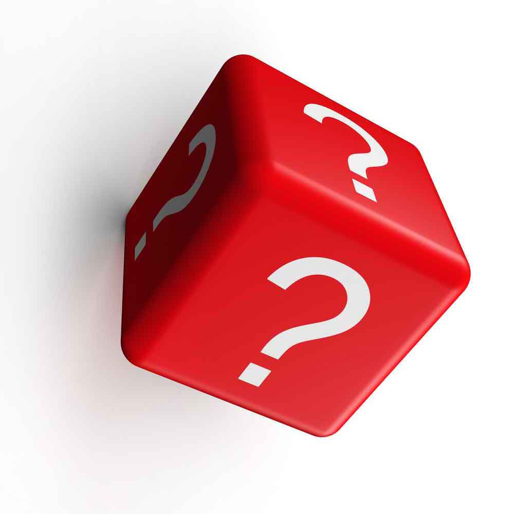 A dice with question marks on all sides