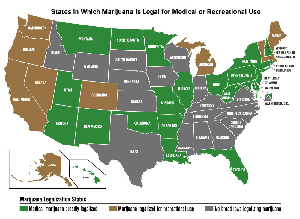 Map showing states with marijuana laws