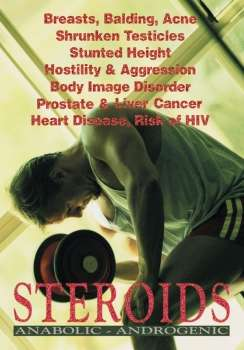 Image of man working out with steroid side effects listed