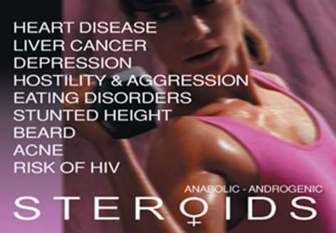 Woman working out with list of steroid effects