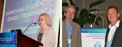 Left: Nora Volkow speaking, and right: Steven W. Gust, Ph.D. and Adrian Dunlop, M.B.B.S., Ph.D.