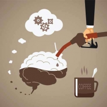 Vector concept of vigorous mind with coffee or caffeine - Illustration