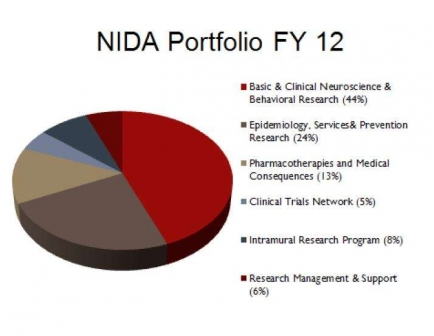Pie chart showing NIDA research portfolio - Basic & Clinical Neuroscience and Behavioral - 44%, Epidemiology, Services & Prevention - 24%, Pharmacotherapies & Medical Consequences - 13%, CTN - 5%, IRP - 8%, RM&S - 6%
