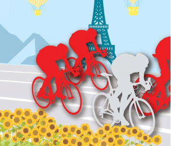 Illustration of bike riders in the Tour de France