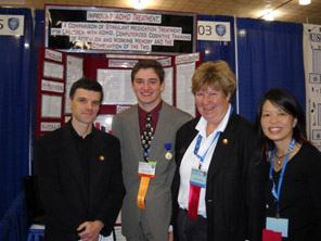 Second Place Addiction Science Award Winter Kevin Knight with NIDA judges Dr. Ruben Baler, Dr. Cindy Miner and Dr. Pam Ling.