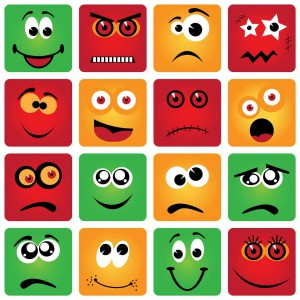 Graphic showing many different emotions